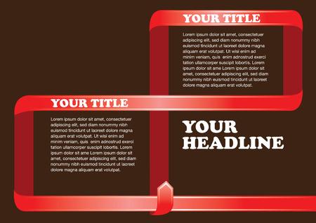 tornitura: Progettazione del layout di pagina con nastro rosso di svolta inquadratura testo bianco Vettoriali