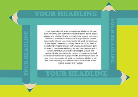 centralized: Page layout design template with four overlapping green colored pencils forming a frame for centre area for copy space. Illustration