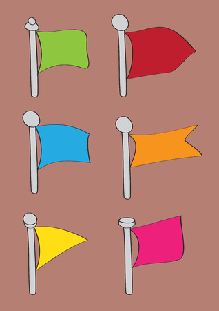 flapping: Vector illustration of blank flapping flags in different shapes and colors hoisted on flagpoles drawn in cartoon style isolated on brown background Illustration