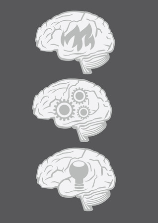 Set of three vector illustration of human brain with conceptual symbols isolated on black background Vector