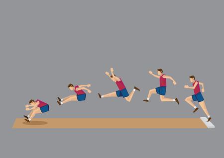 salto largo: Iconos vectoriales secuenciales de atleta haciendo salto de longitud aisladas sobre fondo gris