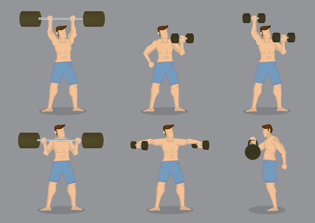 beefcake: Set of six muscular man doing weight lifting with training equipment isolated on grey background