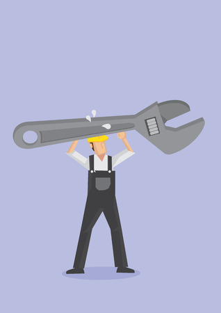 perspiration: Vector illustration of a strong man wearing overall and yellow helmet carrying a gigantic, spanner with both hands Illustration