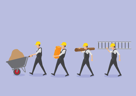 Set of four manual workers or labors in yellow helmet carrying work tool and equipment vector icons isolated on plain purple background