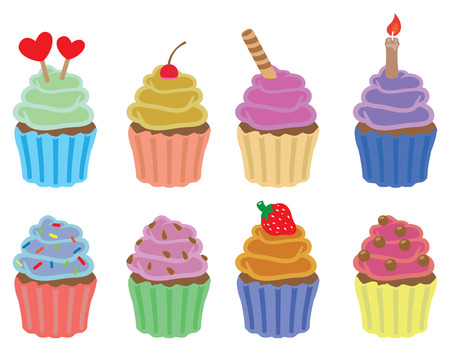 cupcakes isolated: Set of eight colorful cupcakes vector icons isolated on white background Illustration