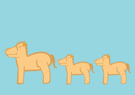 fullbody: Stylized vector illustration of ponies and small horses in profile view queueing in line one after another isolated on turquoise background.