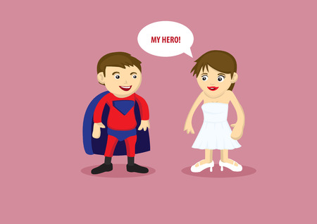 boys cartoon: Vector illustration of a man in super hero costume with cape and a lady in white strapless dress and heels saying My Hero. Illustration