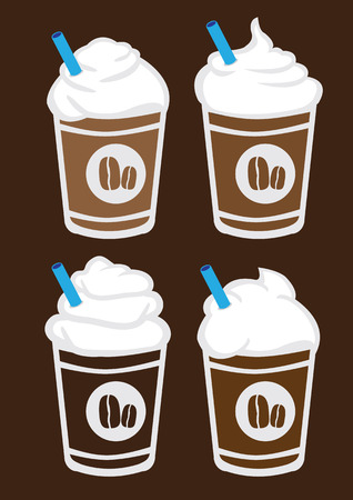 plastic straw: Set of four vector illustration of iced coffee with whip cream and blue straw in plastic cup isolated on brown background Illustration