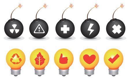 risky love: Vector icon set di lampadine e bombe con i simboli per la distruzione ambientale e il tema di conservazione isolato su sfondo bianco,