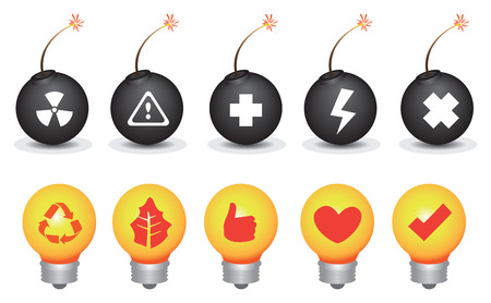 risky love: Vector icon set of lightbulbs and bombs with symbols for environmental destruction and conservation theme isolated on white background,