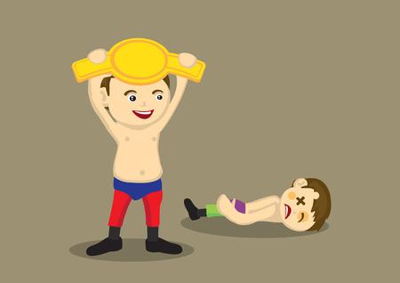 battu: Lutteur heureux holding une ceinture d'or et son adversaire battu gisant inconscient sur le sol. Vector illustration isol� sur fond brun clair.