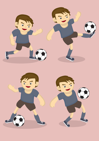 Set of four vector illustration of soccer player kicking soccer ball isolated on plain pink background