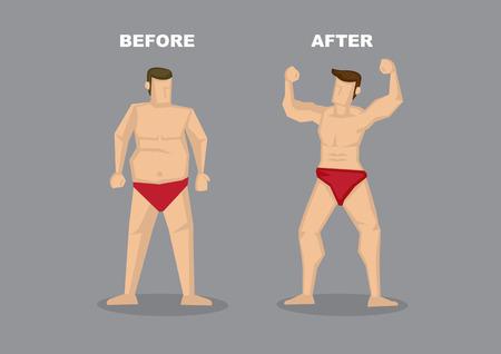Kontrast der vor und nach dem Bild der erfolgreichen Gewichtsverlust - ein Mann in roten Slip mit Fett Bierbauch in eine zuversichtlich Muskelfleischkuchen verwandelt. Vektor-Illustration im Cartoon-Stil isoliert auf schlichten grauen Hintergrund. Standard-Bild - 34661090