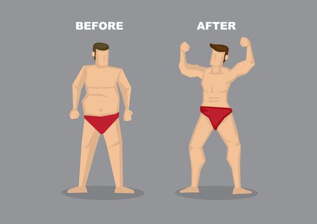 Contrast of before and after image of successful weight loss - man in red brief with fat beer belly transformed into a confident muscular beef cake. Vector illustration in cartoon style isolated on plain grey background.