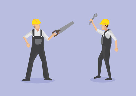 crosscut: Vector illustration of worker in front view with crosscut saw and worker in profile view with adjustable spanner isolated on plain purple background Illustration