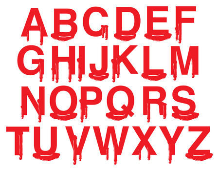 explicit: Alphabets in uppercase with vector illustration of red blood isolated on white background