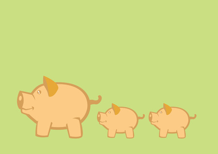 Vector illustration of mother pigs leading piglets on green background Vector