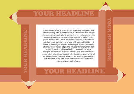 colored pencils: Page layout design template with four overlapping brown colored pencils framing white area in center for copy space Illustration