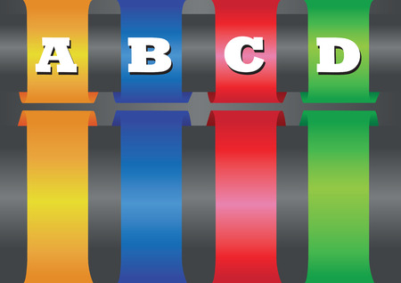 wrapped around: Vector layout design of four thick colorful bands with copy space wrapped around horizontal bar.