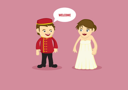 Vector illustration of a Hotel Bellboy in red uniform serving and greeting welcome to a lady guest in long evening dress