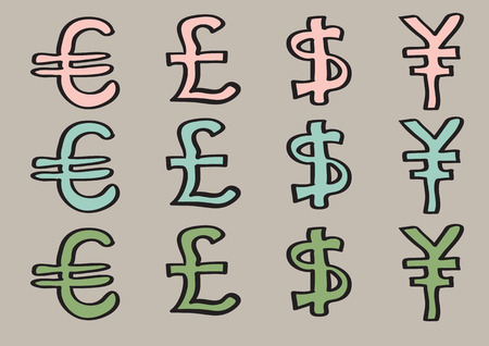 australian money: vector illustration of special characters for euro, pound, dollar and yen. Set of cartoon currency signs in three colors isolated on brown background.