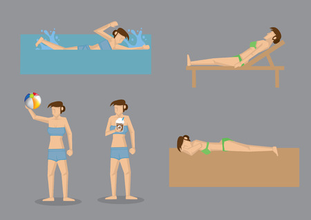 woman lying down: Vector illustration of bikini woman enjoying summer activities at the beach like swimming in sea, sunbathing on sand, resting on bench, playing beach ball and drinking cold drink.