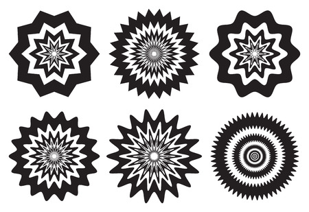 cause: Vector illustration of black and white fuzzy concentric patterns with optical illusion effects that may cause dizziness