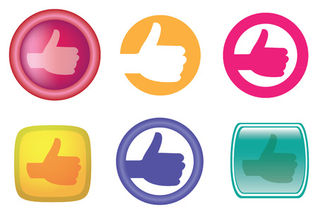 Vector illustration of hands with thumb up gesture as web buttons and icons in different designs