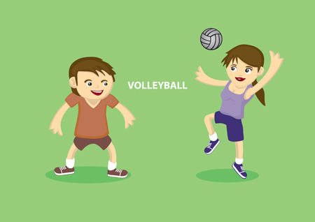 smack: Illustration of Sporty young couple playing volleyball isolated on green background