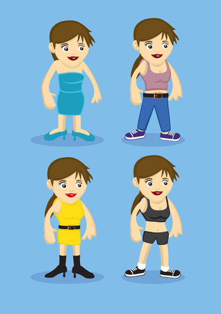 strapless: Fashion design vector illustration for cartoon woman of different roles and activities. Cute female characters isolated on blue background