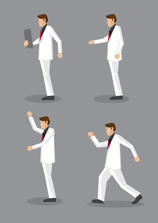 vector illustration of man in stylish white suit and red necktie in profile view isolated on grey background