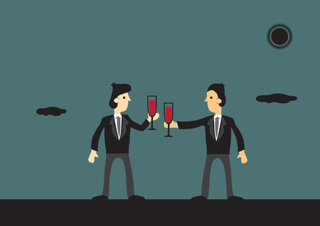 clinking: Vector cartoon illustration of businessmen clinking glasses with red wine at outdoors to celebrate successful partnership. Illustration
