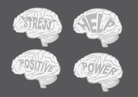 Vector illustration of human brain with text messages in profile view isolated on dark grey background Vector