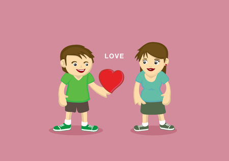 confess: Vector cartoon characters of a man giving a gift of his heart to a woman and confess his love.