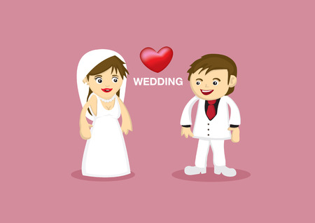 bridegroom: Vector illustration of cartoon characters of bride and bridegroom in white wedding gown and suit with love heart between them.
