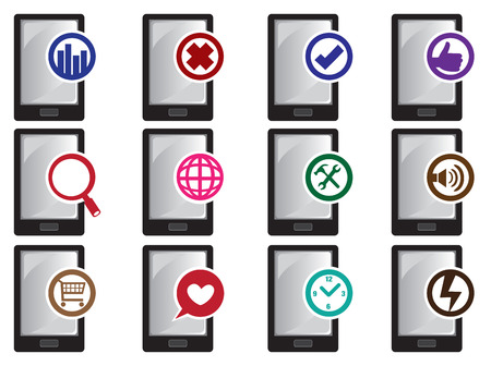 Vector icon of smart phones with different functions and applications isolated on white background Vector