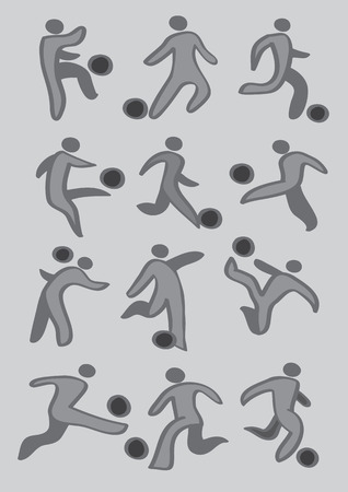 Set of vector drawing of soccer player kicking soccer ball icons in grey and black isolated on light grey background Vector