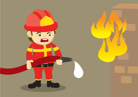 dismay: Cute vector cartoon illustration of a distressed firefighter in red uniform holding a dripping water hose in front of a brick house on fire. Illustration