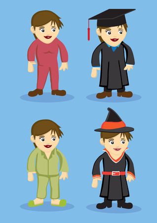 pyjamas: Set of vector cute cartoon Girl in Jumpsuit, Academic Gown Pyjamas and Witch Costumes isolated on blue background