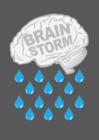 analogy: Human brain with raindrops. Conceptual vector illustration for creative brainstorm metaphor.