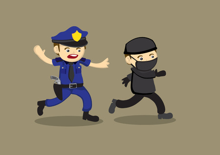 Vector cartoon illustration of a police officer chasing after and trying to catch a masked thief.