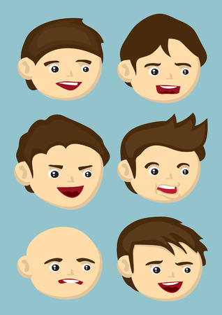 disgust: Set of six vector illustration of cartoon head icons in different hairstyle and facial expressions isolated on blue background