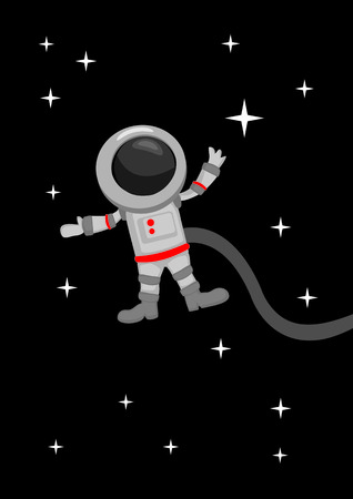 zero gravity: Vector illustration in cartoon style of astronaut floating weightless in outer space