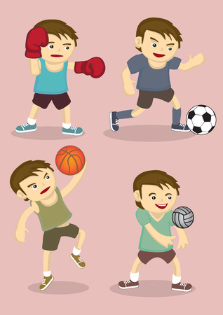 sporty: vector illustration of sporty boy playing boxing, soccer, basketball and volley ball isolated on pink plain background