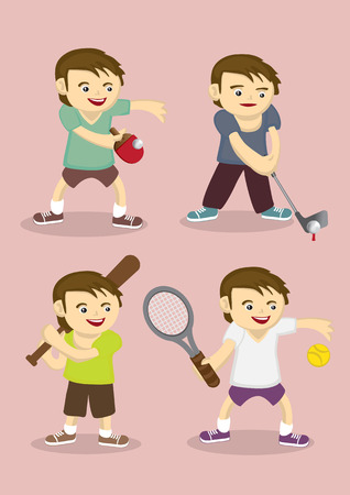 Set of four vector illustration of cute sporty boy learning table tennis, golf, baseball and tennis isolated on pink plain background Vector