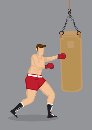 Vector illustration of a male beefcake boxer working out and training with a punchbag isolated on grey background. Vector