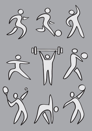 Collection of simple vector illustration of sports icons in cartoon style isolated on grey background. Vector
