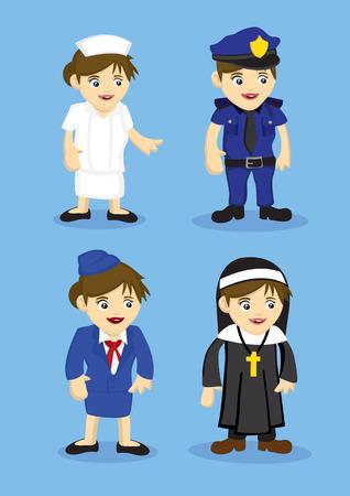 enfermera con cofia: Ilustraci�n vectorial de la mujer uniforme para los distintos trabajos y profesiones. Conjunto de cuatro iconos aislados sobre fondo azul.