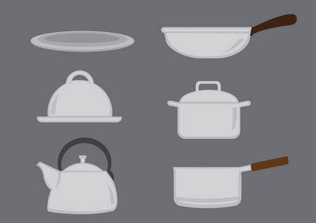 hand held: Vector icon set of hand-held cooking utensils isolated on grey background
