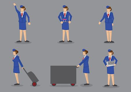 devoir: Ensemble de six h�tesse de l'air en uniforme bleu en service vecteur ic�ne isol� sur fond gris